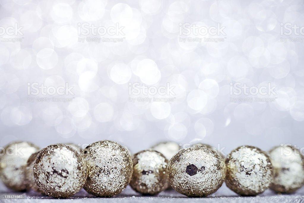 Silver glitter balls on illuminated background- selective focus- XXXL...