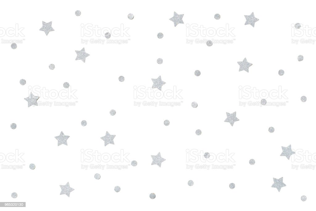 Silver glitter confetti paper cut background royalty-free stock photo