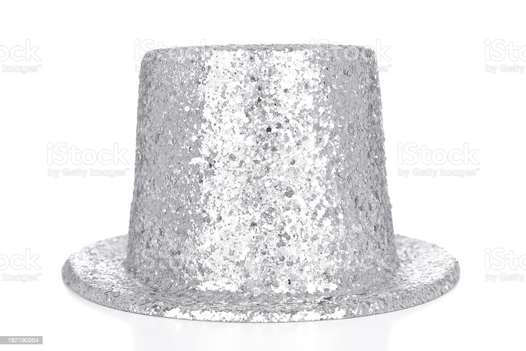 Silver glitter top hat on white background stock photo