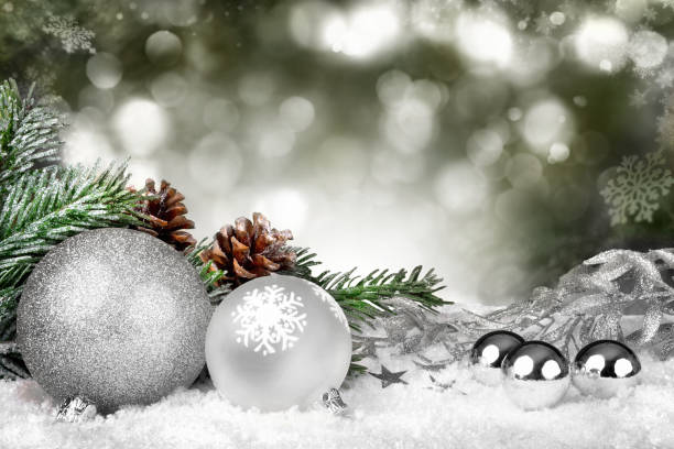 Silver glittering Christmas stock photo