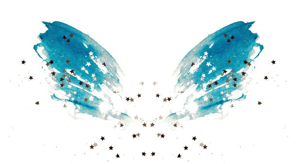 Silver glittering stars on abstract blue watercolor wings on white Silver glittering stars on abstract blue watercolor wings on white background angelic stock pictures, royalty-free photos & images