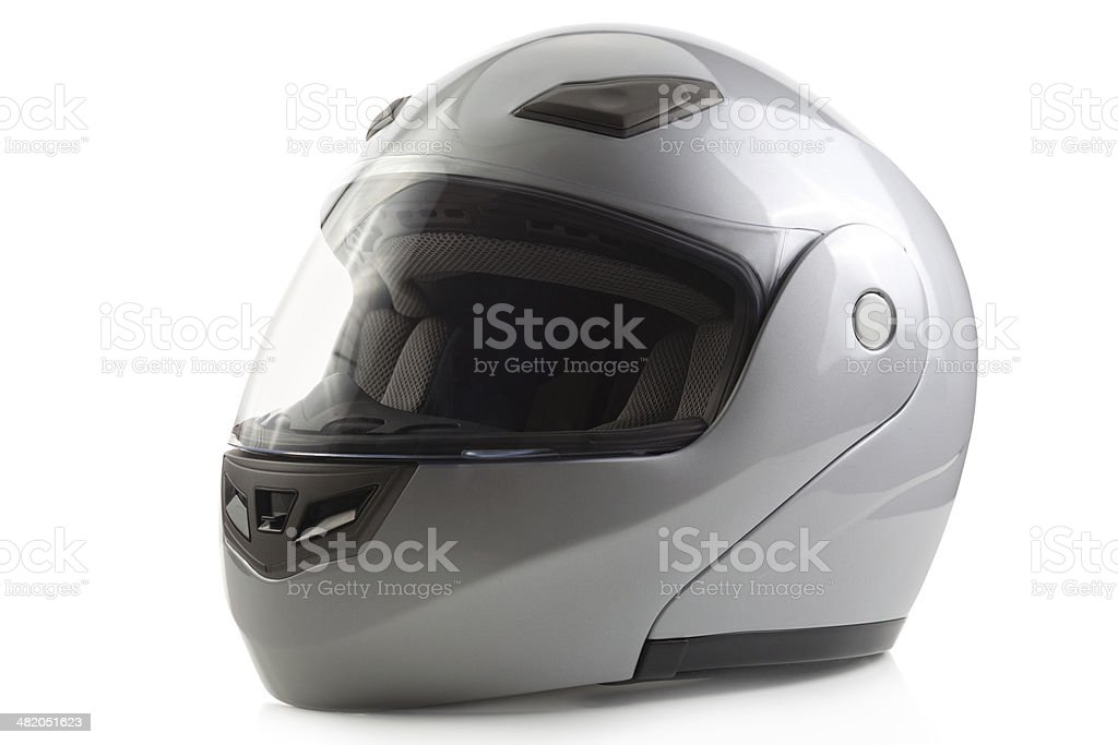 Silver glossy bike helmet isolated royalty-free stock photo