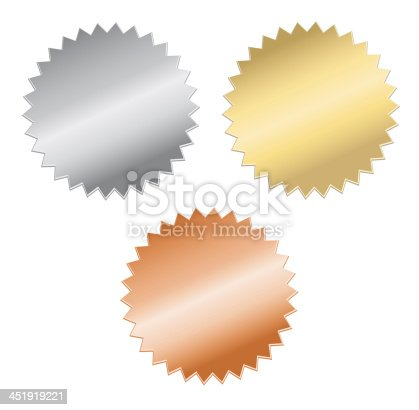 istock Silver, gold, and bronze medals on a white background 451919221