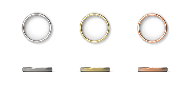 istock Silver, Gold, Copper rings isolated on white background. 3D rendering. 984966476