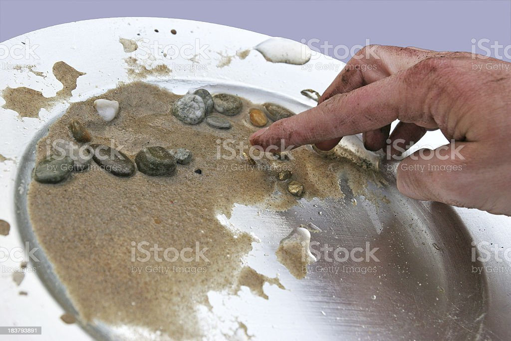 Silver Gold Pan stock photo