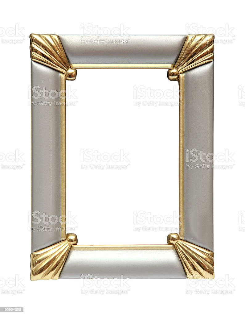 Silver - gold picture frame isolated on white royalty-free stock photo