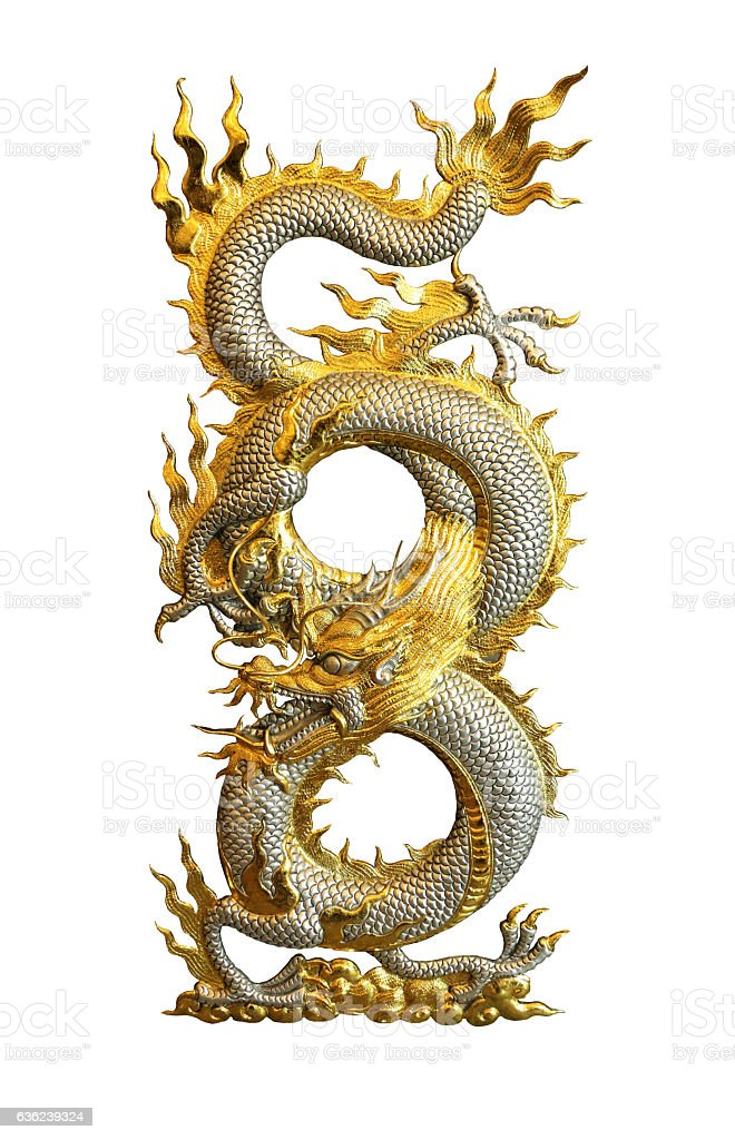 Silver Golden Dragon isolated on white background clipping path stock photo