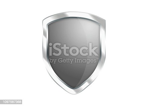 istock Silver Gray shield icon isolated on white background 1097587368