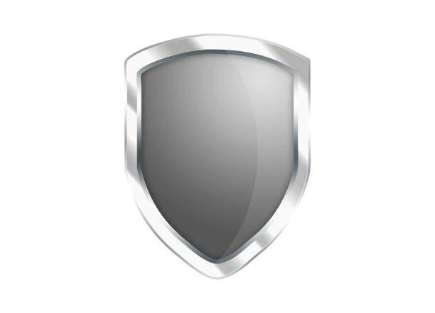 silver gray shield icon isolated on white background - badge logo stock photos and pictures