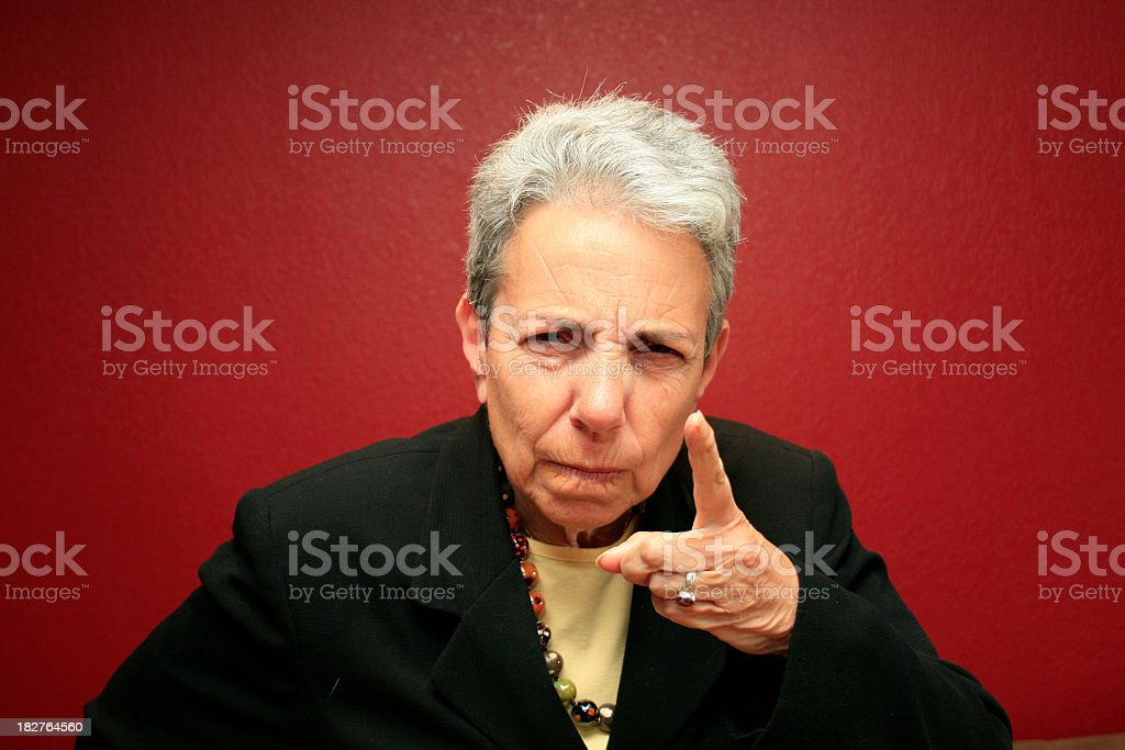 Silver Grey Haired Woman Disciplining You royalty-free stock photo