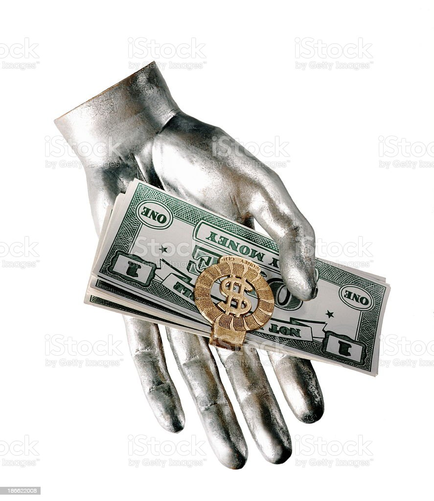 Silver Hand Holding Money royalty-free stock photo