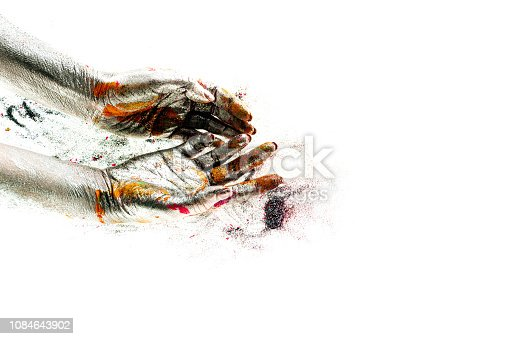 istock Silver hands. Empty hands are full of color. Body philosophy. Color of this autumn. Yellow leaves on asphalt hands of road. Abstract vision. Hand poem 1084643902