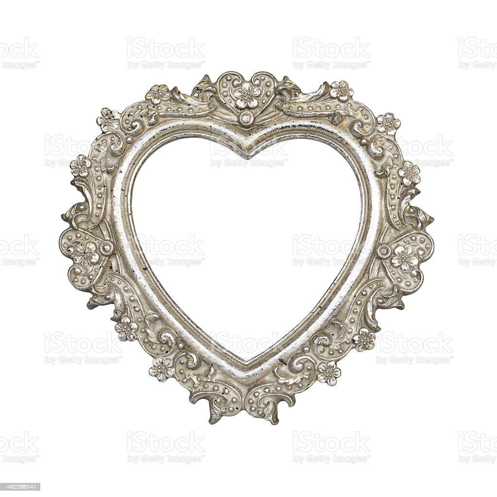 Silver heart picture frame stock photo