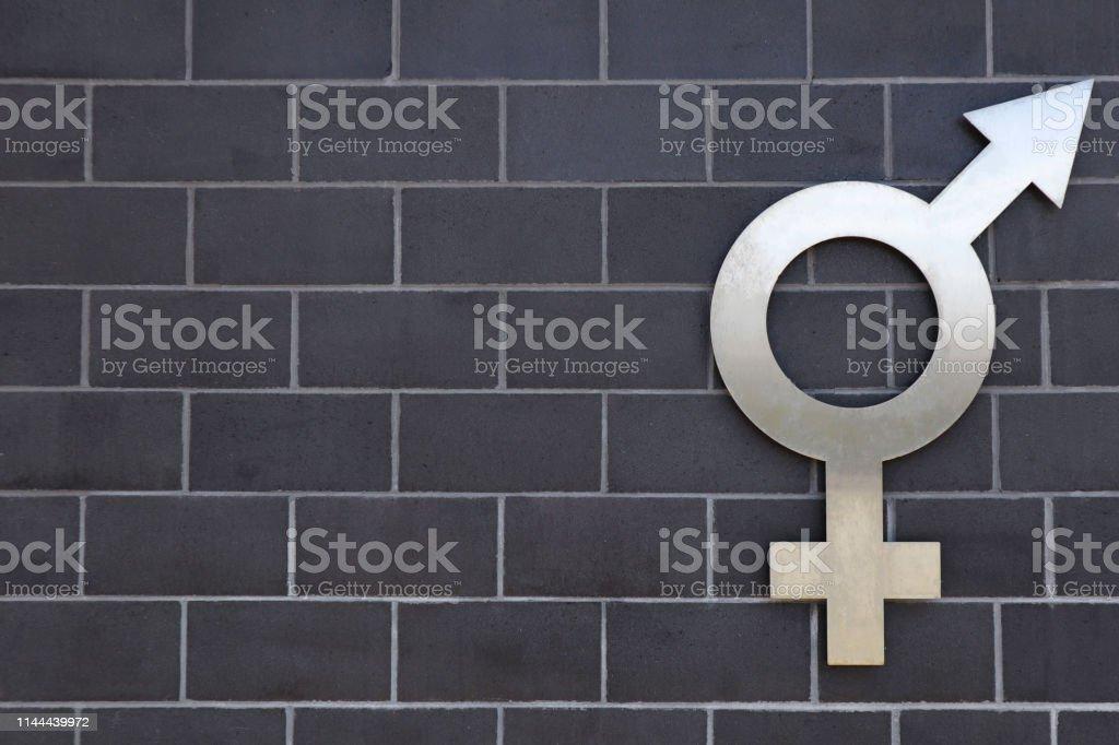 Silver heterosexual gender symbol on a dark brick wall. Great photo...