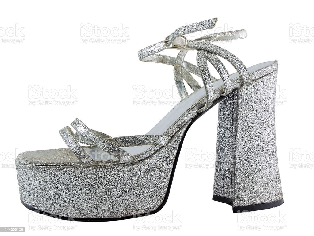 Silver high heel platform show stock photo