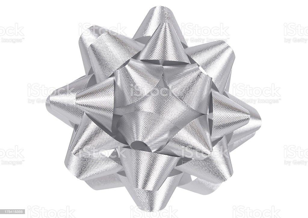 Silver Holiday Bow royalty-free stock photo