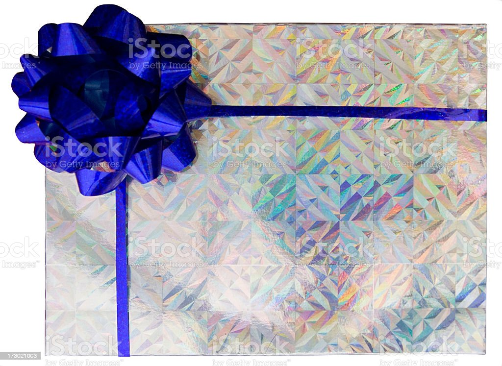 Silver holographic box with blue bow royalty-free stock photo