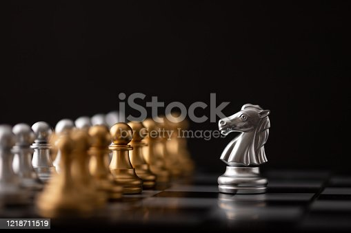 istock silver hores is the leader of the chess 1218711519