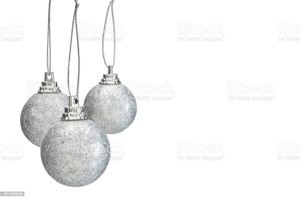 Silver hristmas balls isolated on white background stock photo