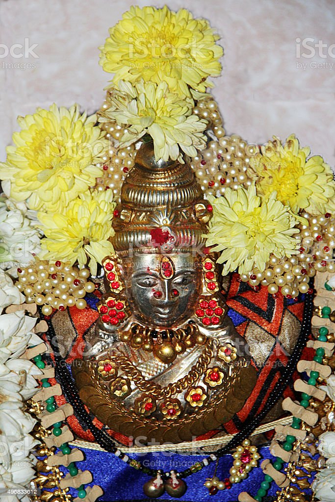 Silver Idol of Mahalakshmi stock photo