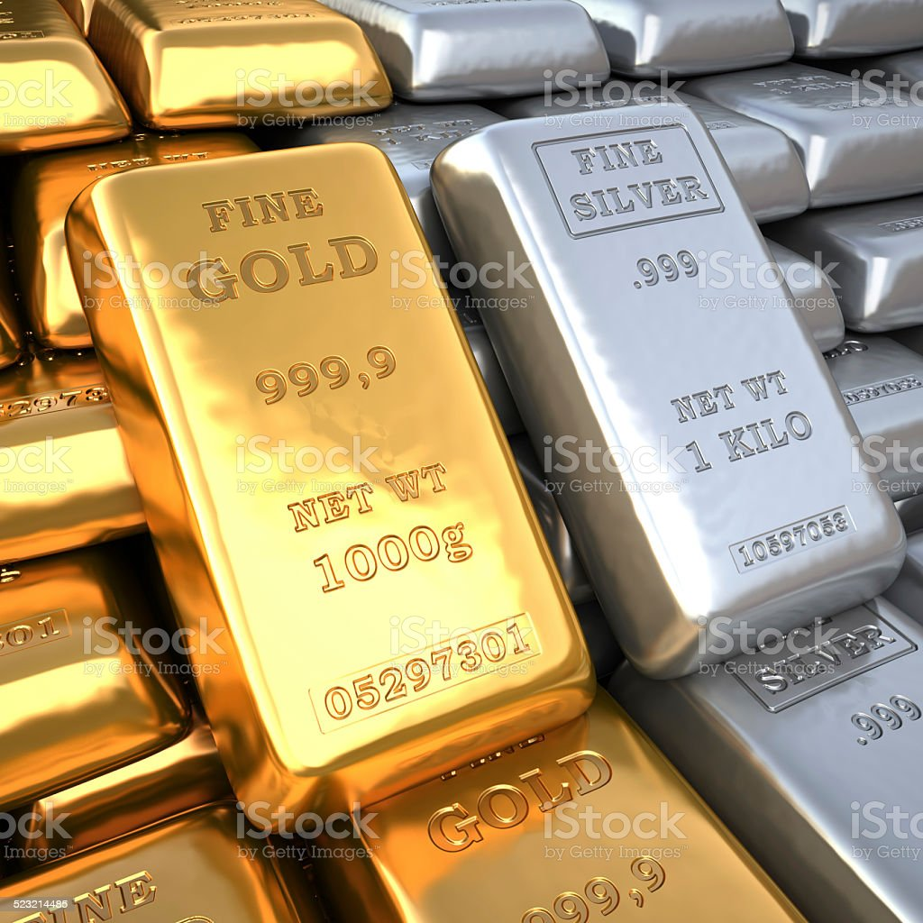 Silver ingot and  gold bullion. Finance illustration stock photo