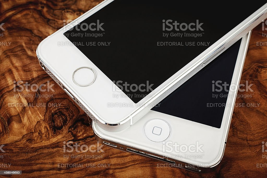 Silver iPhone 5s and 4s Comparison stock photo