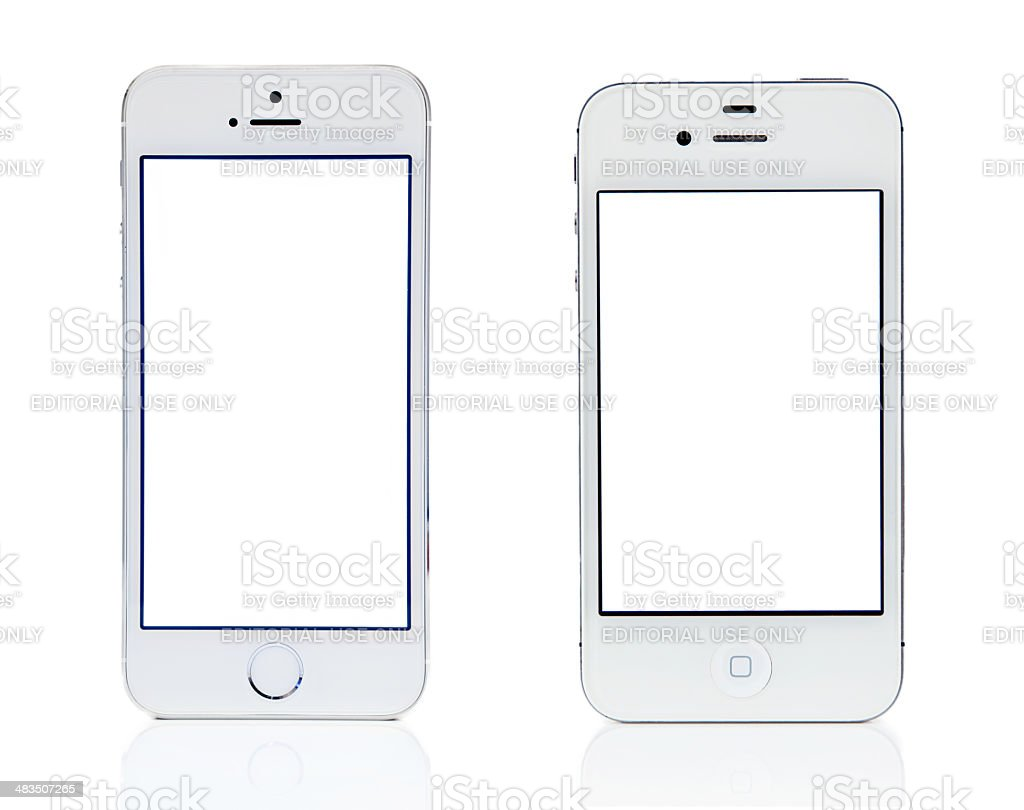 Silver iPhone 5s and White 4s Comparision stock photo