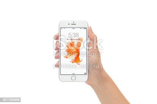 istock Silver iPhone 6 in Lock Screen Against White Background 507295698