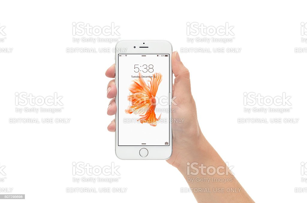 Silver iPhone 6 in Lock Screen Against White Background stock photo