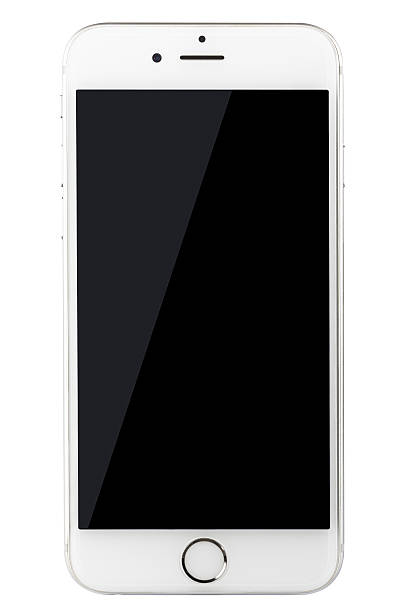 Silver iPhone 6 Isolated on Black with Blank Screen stock photo