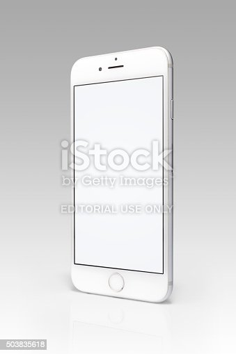 Istanbul, Turkey - September 10, 2015: Studio shot of a white and silver iPhone 6s showing a blank screen. Isolated on white with clipping path.