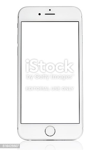 iphone white screen silver iphone 6 isolated on white with blank screen stock 12491