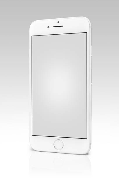 Silver iPhone 6s Isolated on White with Blank Screen stock photo