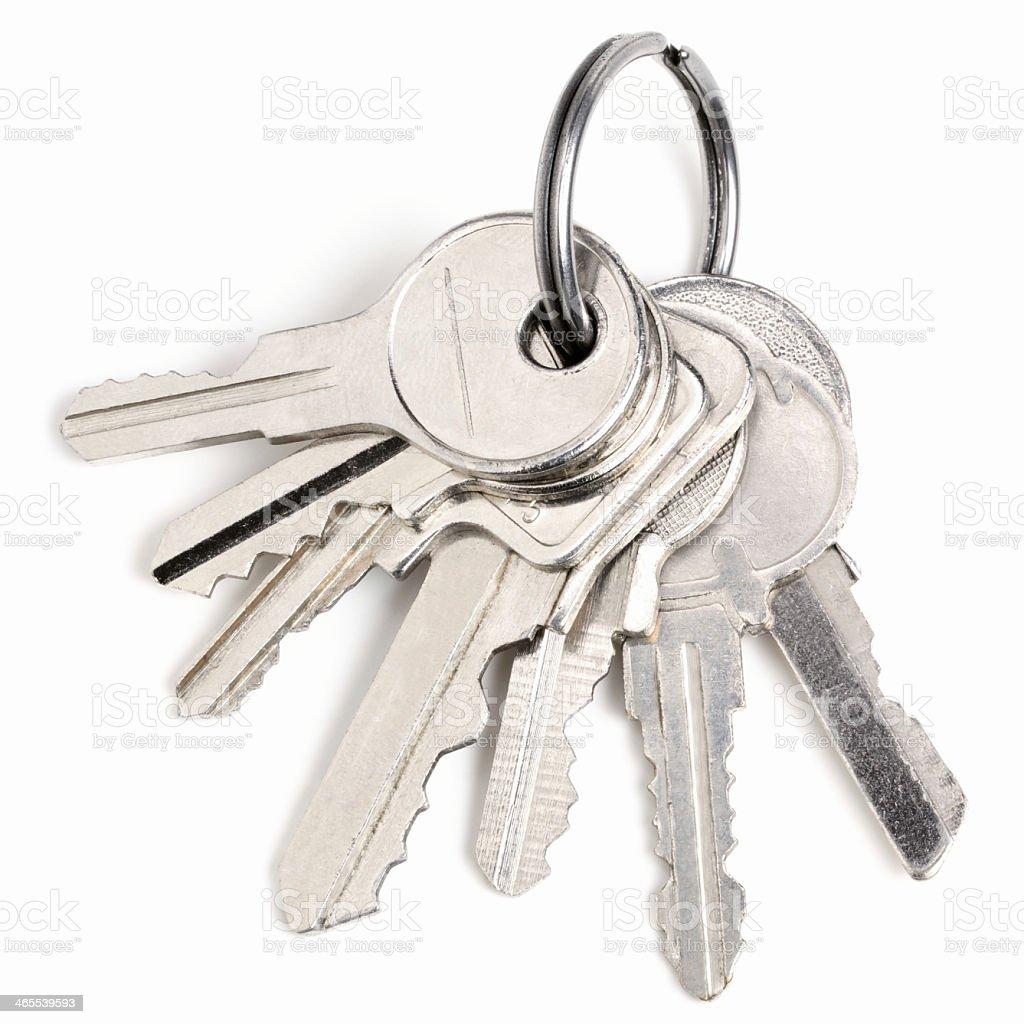 Silver keys isolated on white background stock photo