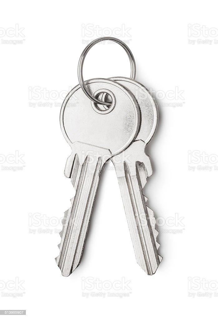 Silver keys stock photo