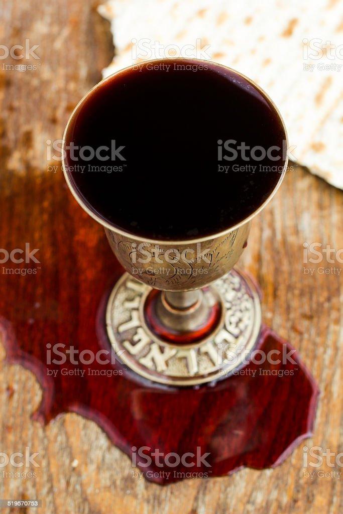 Silver kiddush wine cup , judaica stock photo
