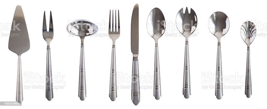 silver kitchen table set spoon fork knife isolated royalty-free stock photo