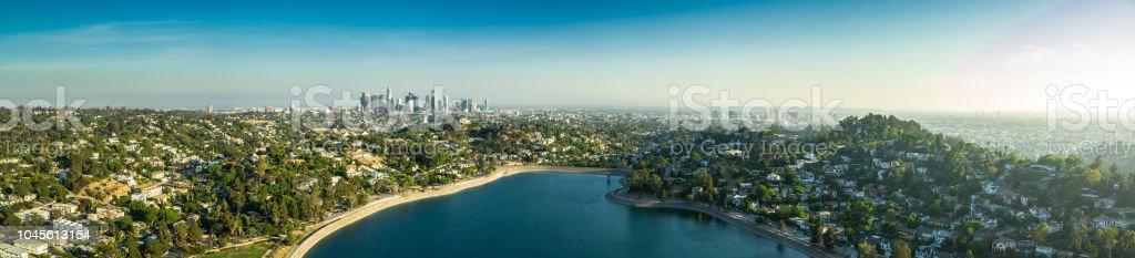 Silver Lake and Los Angeles Sprawl - Aerial Panorama stock photo