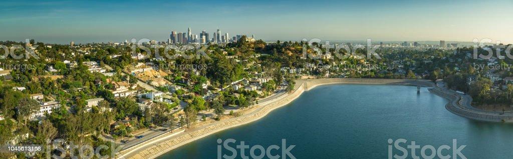 Silver Lake, Los Angeles - Aerial Panorama stock photo