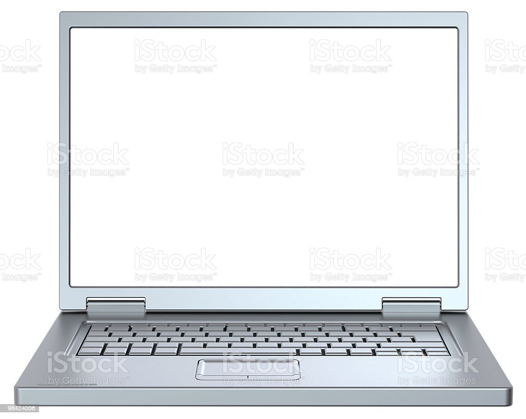 Silver laptop isolated on white. royalty-free stock photo
