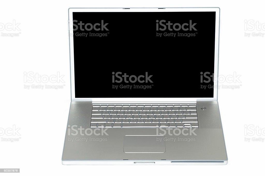 Silver Laptop on white royalty-free stock photo