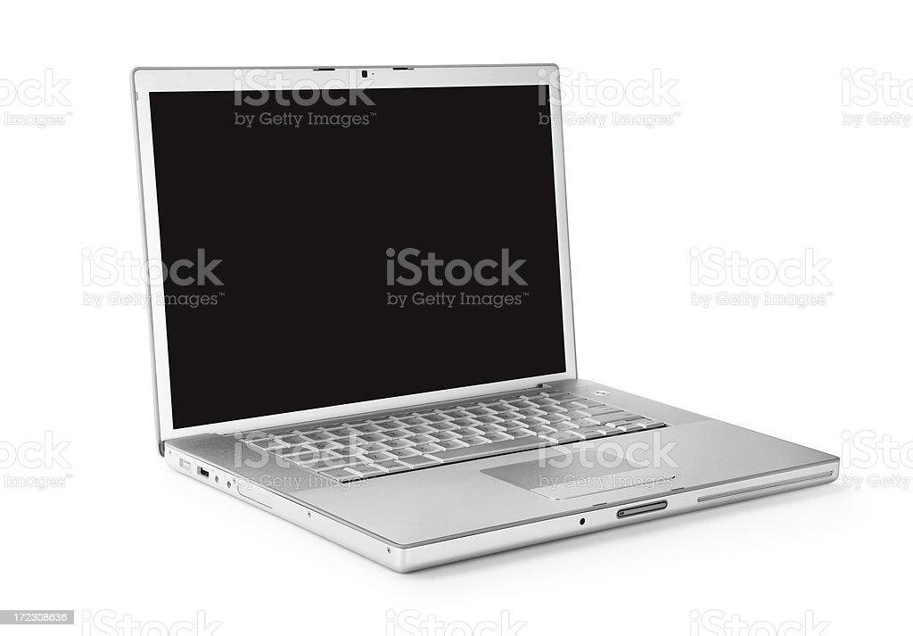 Silver laptop. royalty-free stock photo