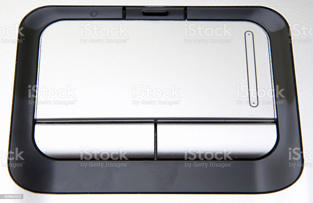 Silver laptop touchpad stock photo