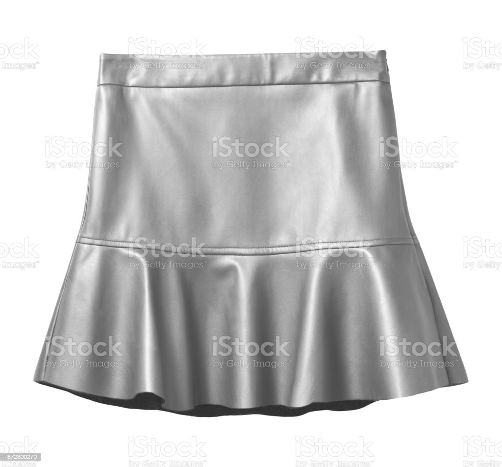 Silver leather skirt with flounce isolated on white stock photo