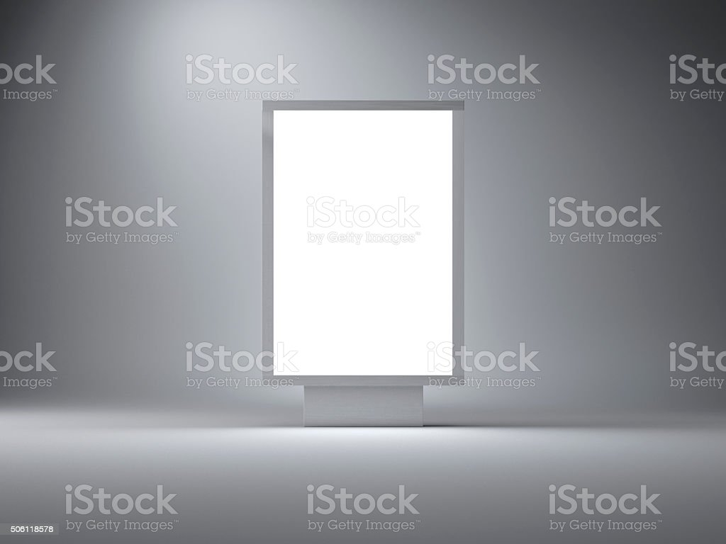 Silver lightbox in the empty studio. Gray wall background. 3d stock photo