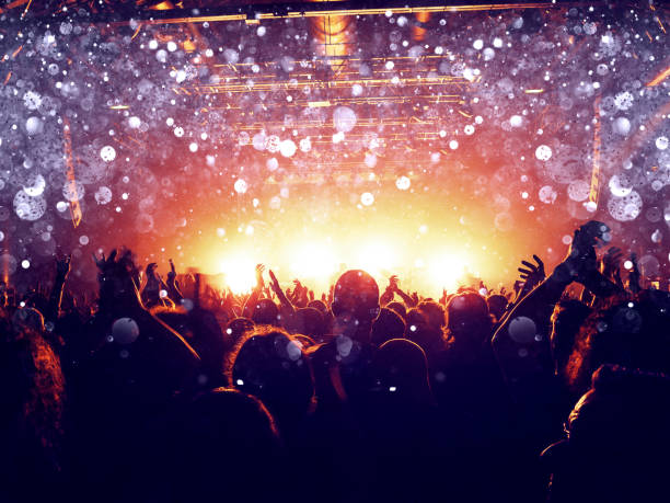 silver lights on a concert crowd - popular music concert stock photos and pictures