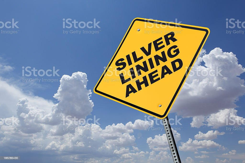 Silver Lining Ahead A sign indicating a Silver Lining Ahead.To see more road signs click on the link below: Blue Stock Photo