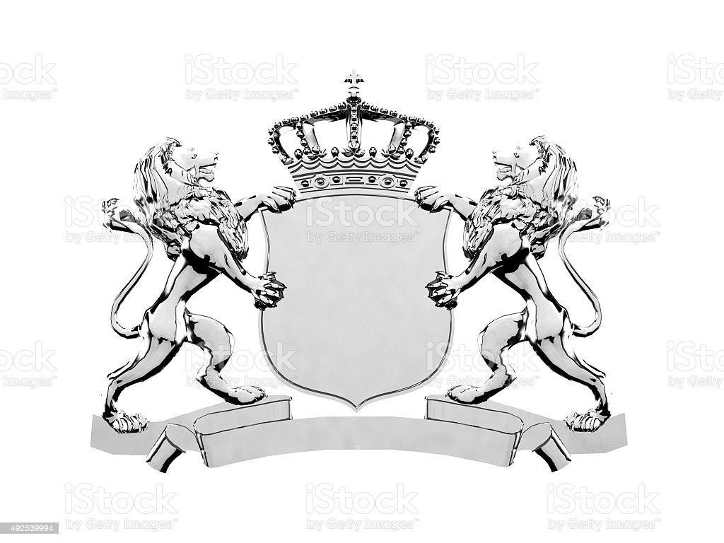 Silver lion crest banner stock photo