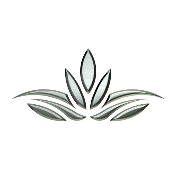 silber lotus pflanze bild. icon-design - lotus zeichnung stock-fotos und bilder