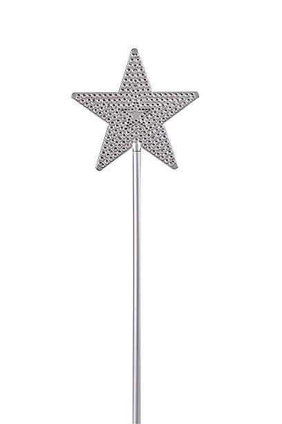 silver magic wand with star on the top - fairy wand stock photos and pictures
